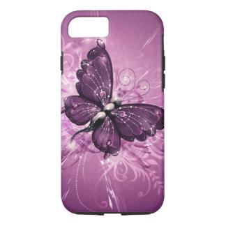 Coque iPhone 8/7 art pourpre de vecteur de papillon