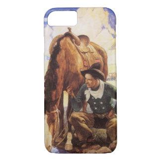 Coque iPhone 8/7 Art vintage, cowboy arrosant son cheval par OR