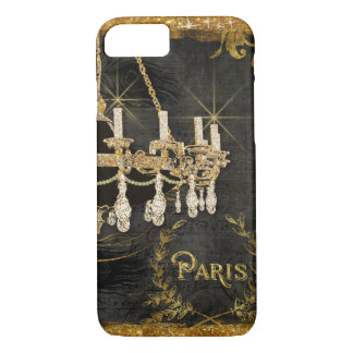 Coque iPhone 8/7 Art vintage de tableau de noir d'or de lustre de