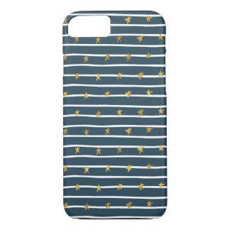 Coque iPhone 8/7 Bannière étoilée bleue blanche d'or