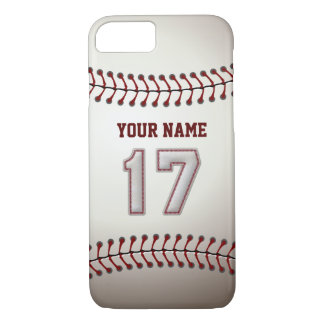 Coque iPhone 8/7 Base-ball numéro 17 avec votre nom - sportif