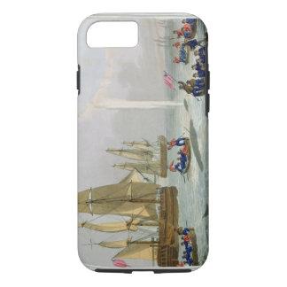 Coque iPhone 8/7 Bateaux approchant une baleine, gravée par la
