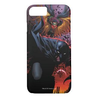Coque iPhone 8/7 Batman et vol de Robin au-dessus de Gotham