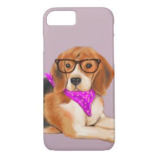 Coque iPhone 8/7 Beagle de Bandana'd (couleur d'arrière - plan