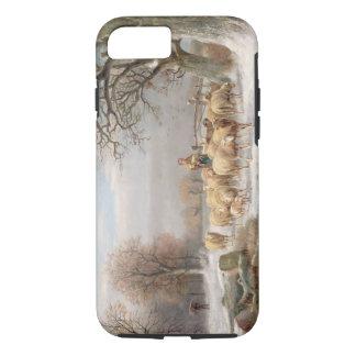 Coque iPhone 8/7 Bergère avec son troupeau dans un paysage d'hiver