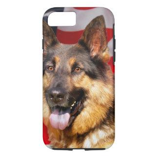 Coque iPhone 8/7 Blanc bleu rouge de patriote de chien de berger