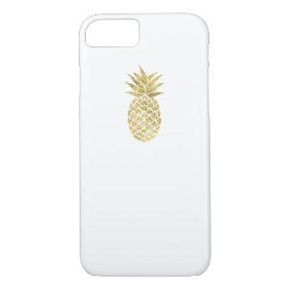 Coque iPhone 8/7 Blanc chic d'or de scintillement de logo moderne