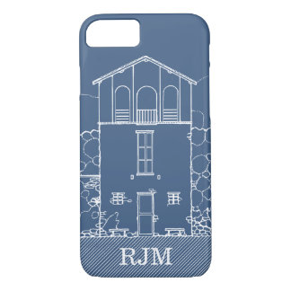 Coque iPhone 8/7 Bleu de dessin de modèle minuscule de Chambre