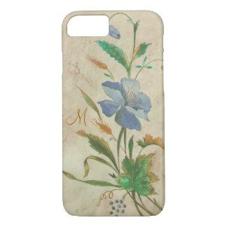 Coque iPhone 8/7 bleu-fleur vintage avec l'initiale faite sur