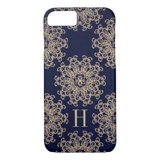Coque iPhone 8/7 Bleu marine décoré d'un monogramme et médaillon