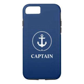 Coque iPhone 8/7 Bleu marine nautique de capitaine Anchor
