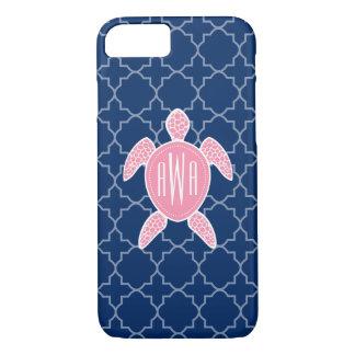 Coque iPhone 8/7 Bleu rose décoré d'un monogramme Quatrefoil de
