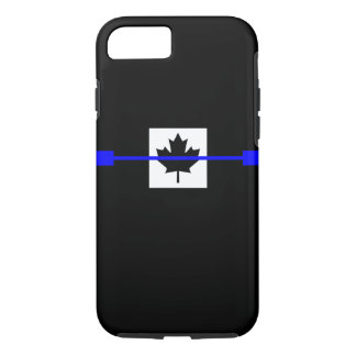 Coque iPhone 8/7 Blue Line mince sur le décor canadien de drapeau