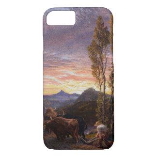 Coque iPhone 8/7 Boeufs labourant au coucher du soleil (la semaine