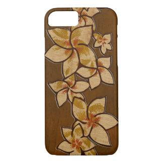 Coque iPhone 8/7 Bois hawaïen de Faux de Plumeria de Melia