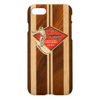 Coque iPhone 8/7 Bois hawaïen de Koa de Faux de planche de surf de