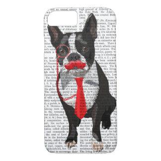 Coque iPhone 8/7 Boston Terrier avec la cravate et la moustache