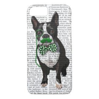 Coque iPhone 8/7 Boston Terrier avec la moustache verte et tacheté