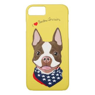 Coque iPhone 8/7 Boston Terrier (Brown) a illustré le cas de