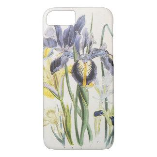 Coque iPhone 8/7 Botanique florale vintage, fleurs d'iris de jardin