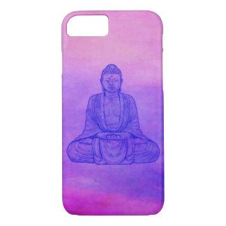Coque iPhone 8/7 Bouddha s'asseyant sur le lavage d'aquarelle