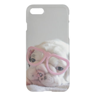 Coque iPhone 8/7 Bouledogue français en verres de coeur