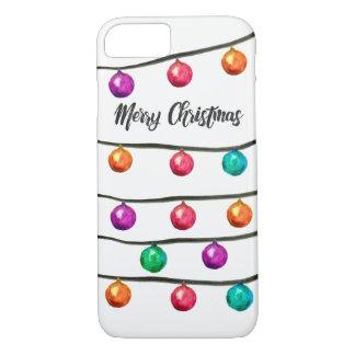 Coque iPhone 8/7 Boules de Noël d'aquarelle sur des ficelles
