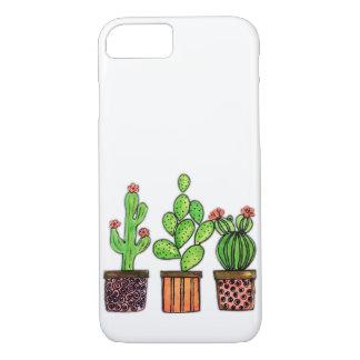 Coque iPhone 8/7 Cactus mignon d'aquarelle dans des pots