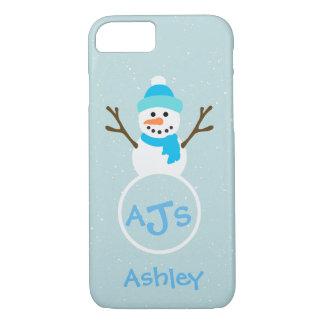 Coque iPhone 8/7 Caisse blanche de bonhomme de neige de monogramme