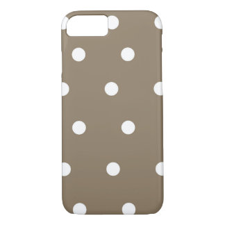 Coque iPhone 8/7 Caisse brune et blanche de moka de polka de point