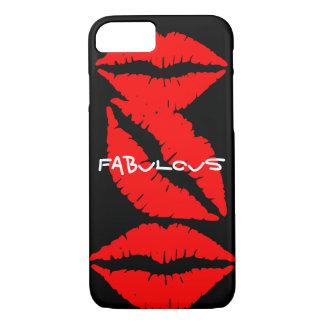 Coque iPhone 8/7 Caisse noire de l'iPhone 7 avec les lèvres rouges