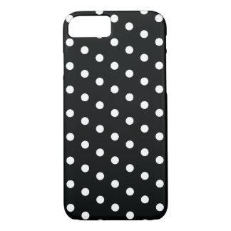 Coque iPhone 8/7 Caisse noire vintage de point de polka