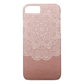 Coque iPhone 8/7 Caisse rose de l'iPhone 7 de mandala d'or