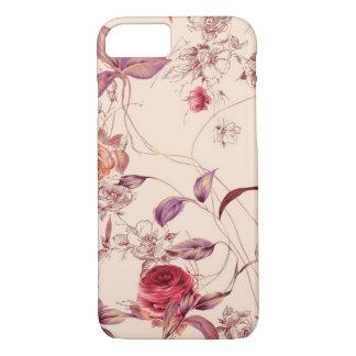 Coque iPhone 8/7 Caisse rose florale vintage élégante de l'iPhone 7