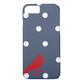 Coque iPhone 8/7 Caisse rouge de téléphone d'oiseau de point de