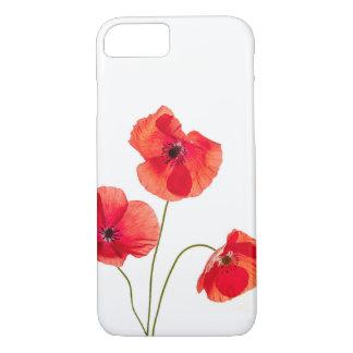 Coque iPhone 8/7 Caisse rouge d'Iphone 7 de fleur de pavot