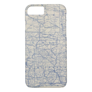 Coque iPhone 8/7 Carte de route de bicyclette du Wisconsin