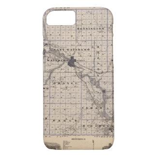 Coque iPhone 8/7 Carte du comté de Black Hawk, état de l'Iowa