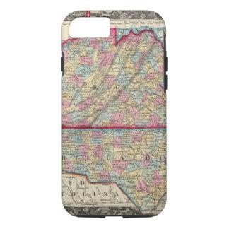 Coque iPhone 8/7 Carte du comté de la Virginie, et de la Caroline