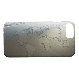 Coque iPhone 8/7 Carte du monde sur le sable