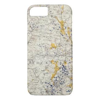 Coque iPhone 8/7 Carte topographique et glaciaire du New Hampshire