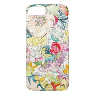 Coque iPhone 8/7 Cas au néon de l'iPhone 7 de fleur d'aquarelle
