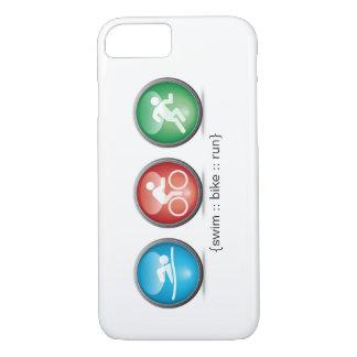 Coque iPhone 8/7 Cas de l'iPhone 7 de Bain-Vélo-Run de triathlon