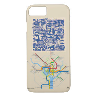 Coque iPhone 8/7 Cas de téléphone de Washington DC avec la carte de