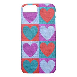 Coque iPhone 8/7 Cas de texture de toile de jute de coeurs pourpres