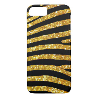 Coque iPhone 8/7 Cas de zèbre de parties scintillantes d'or
