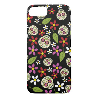 Coque iPhone 8/7 Cas floral de l'iPhone 6 de crânes de sucre