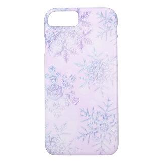 Coque iPhone 8/7 Cas rose-clair de téléphone de flocons de neige