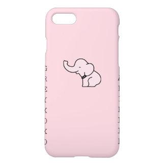 Coque iPhone 8/7 cas rose mat de l'iPhone 7 d'éléphant de greyxoxo