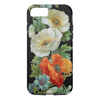 Coque iPhone 8/7 Cas vintage de l'iPhone 7 d'art de pavots oranges